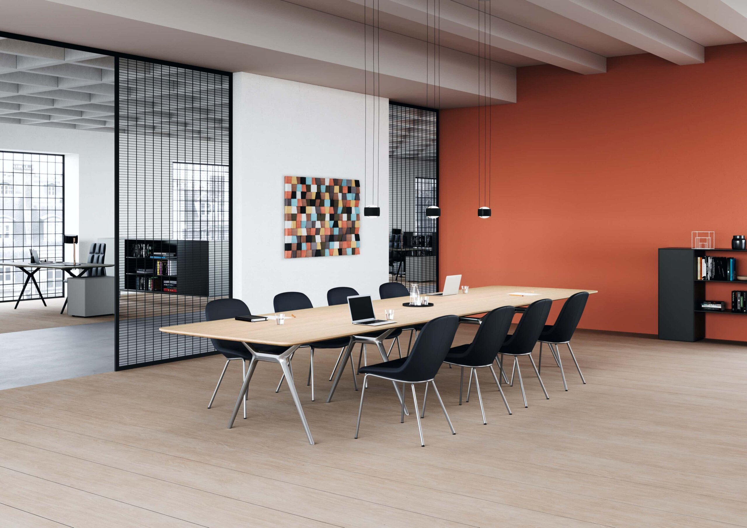 Sheru chAIRs in leather with polished steel legs, with Conference-X table